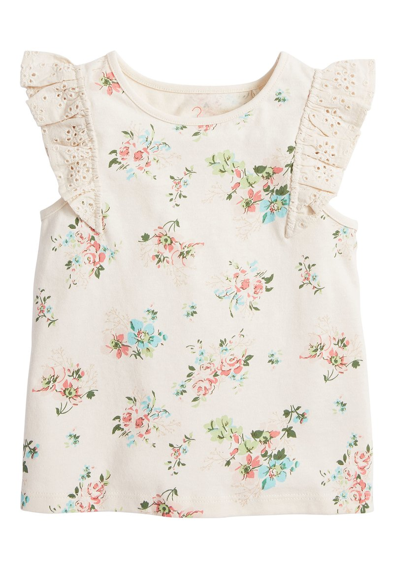 Next - WHITE/PINK BRODERIE FRILL GOTS ORGANIC VEST (3MTHS-8YRS) - Pusero - off-white
