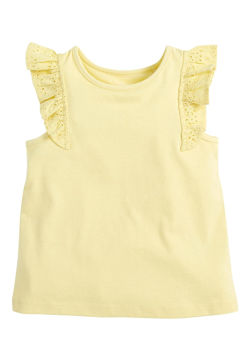 Next - WHITE/PINK BRODERIE FRILL GOTS ORGANIC VEST (3MTHS-8YRS) - Blouse - yellow