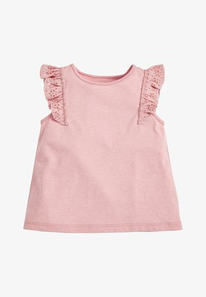 WHITE/PINK BRODERIE FRILL GOTS ORGANIC VEST (3MTHS-8YRS) - Blůza - pink