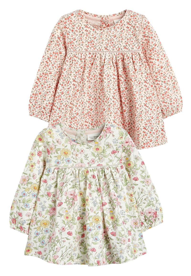 Next - PINK/WHITE 2 PACK FLORAL TUNIC TOPS (0MTHS-3YRS) - Tunic - pink