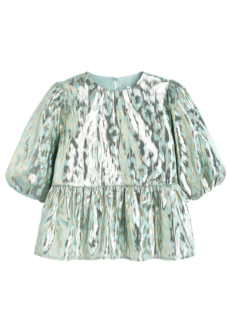 Next - MINT PUFF SLEEVE ANIMAL BLOUSE WITH SILK (3-16YRS) - Blus - green