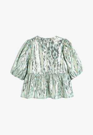 MINT PUFF SLEEVE ANIMAL BLOUSE WITH SILK (3-16YRS) - Camicetta - green