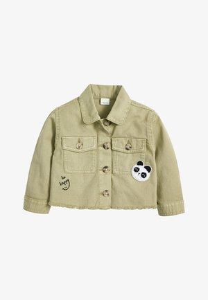 KHAKI PANDA EMBROIDERED COTTON SHACKET (3MTHS-7YRS) - Denim jacket - green