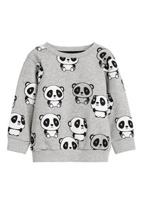Next - GREY MARL PANDA ALL OVER PRINT CREW NECK SWEATER (3MTHS-7YRS) - Trui - grey - 0
