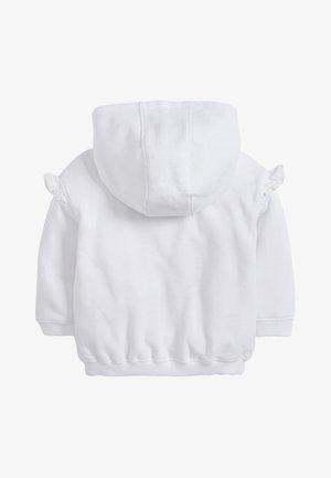 WHITE BRODERIE FRILL ZIP THROUGH HOODY (3MTHS-7YRS) - Hoodie met rits - white