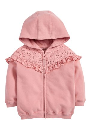 WHITE BRODERIE FRILL ZIP THROUGH HOODY (3MTHS-7YRS) - Sweatjakke /Træningstrøjer - pink