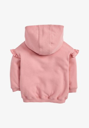 WHITE BRODERIE FRILL ZIP THROUGH HOODY (3MTHS-7YRS) - Zip-up hoodie - pink