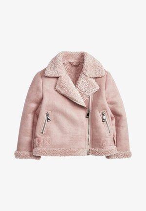 Imitatieleren jas - pink