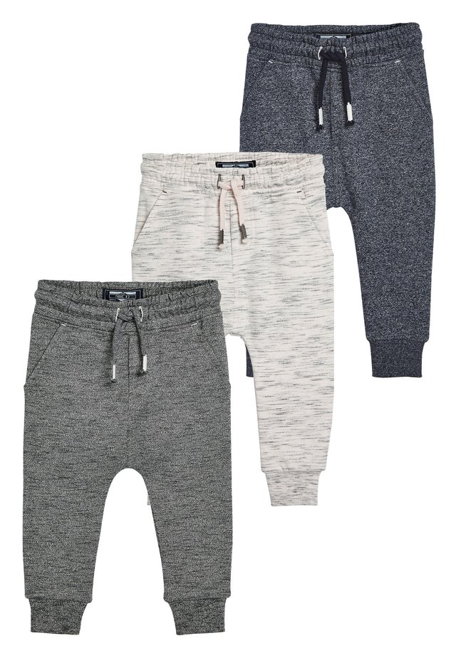 NATURAL/GREY/BLUE 3 PACK TEXTURED JOGGERS (3MTHS-7YRS) - Spodnie treningowe - blue