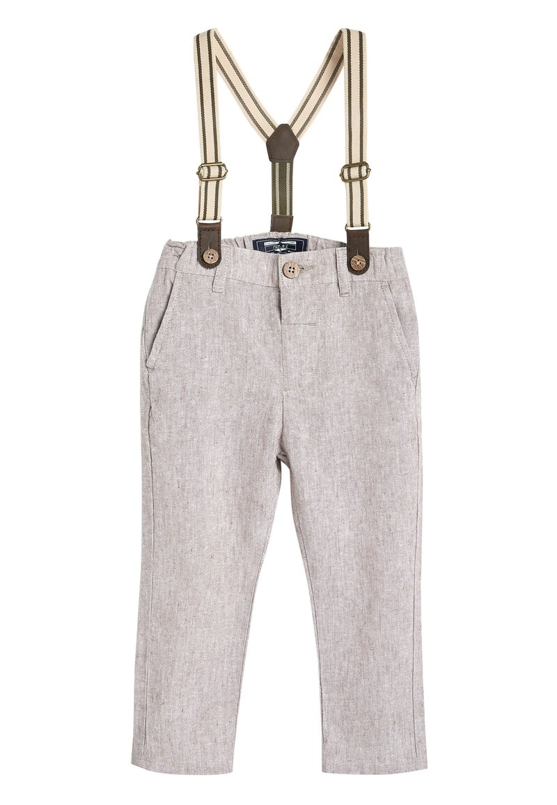 Next - STONE FORMAL TROUSERS WITH BRACES (3MTHS-7YRS) - Kalhoty - off-white