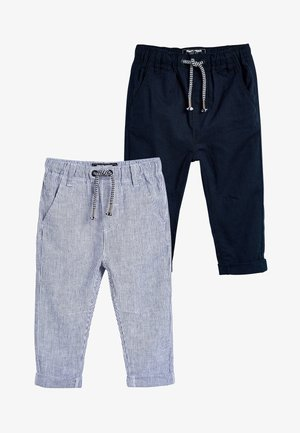 STRIPE/PLAIN 2 PACK LINEN BLEND TROUSERS (3MTHS-7YRS) - Tracksuit bottoms - blue