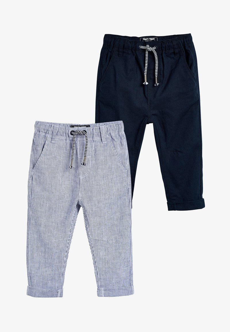 Next - STRIPE/PLAIN 2 PACK LINEN BLEND TROUSERS (3MTHS-7YRS) - Pantalon de survêtement - blue