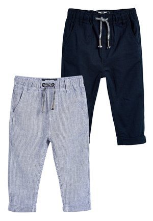 STRIPE/PLAIN 2 PACK LINEN BLEND TROUSERS (3MTHS-7YRS) - Pantaloni sportivi - blue