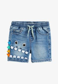 Next - DENIM MID BLUE CHARACTER PULL ON JERSEY SHORTS (3MTHS-7YRS) - Denim shorts - blue - 0