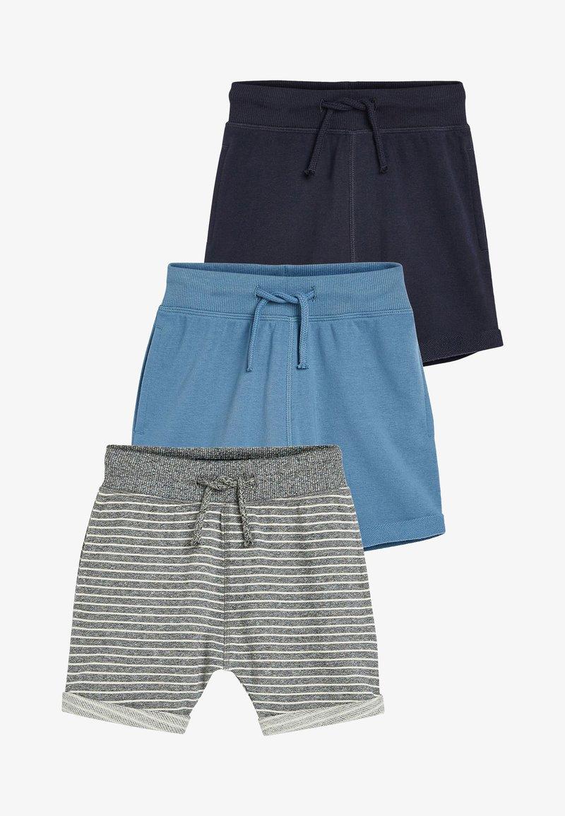 Next - STRIPE/PLAIN 3 PACK SHORTS (3MTHS-7YRS) - Shorts - blue