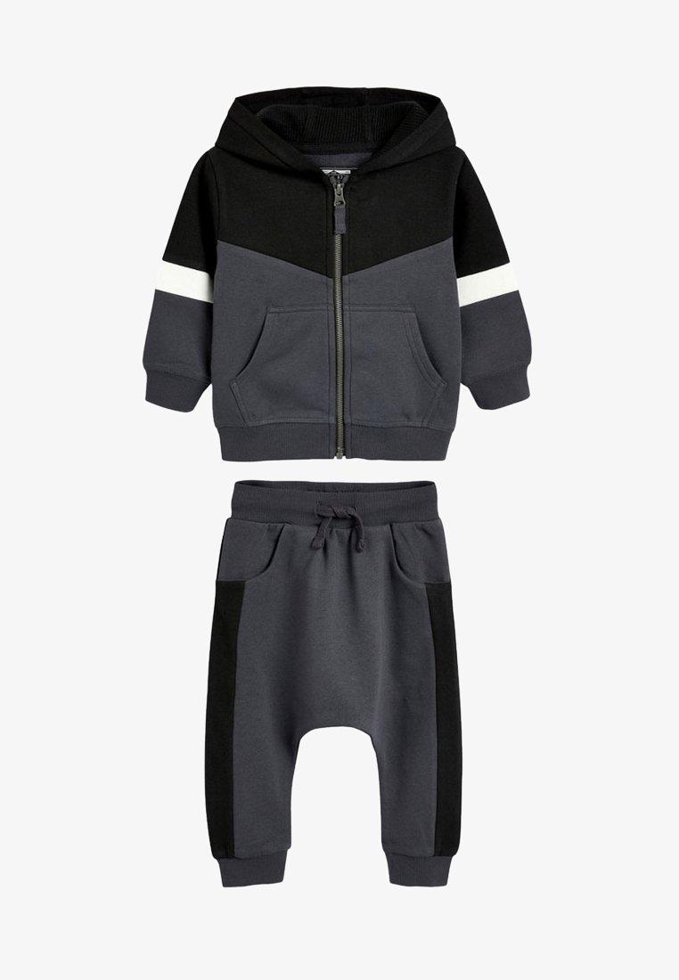 Next - MONO COLOURBLOCK HOODY AND JOGGERS SET - Zip-up hoodie - black