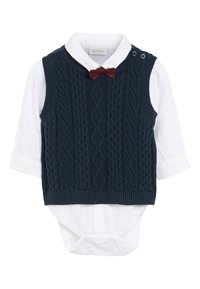 Next - NAVY KNITTED TANK TOP, SHIRTBODY AND BOW TIE SET (0MTHS-2YRS) - Pullover - blue - 0
