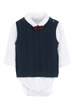NAVY KNITTED TANK TOP, SHIRTBODY AND BOW TIE SET (0MTHS-2YRS) - Jumper - blue