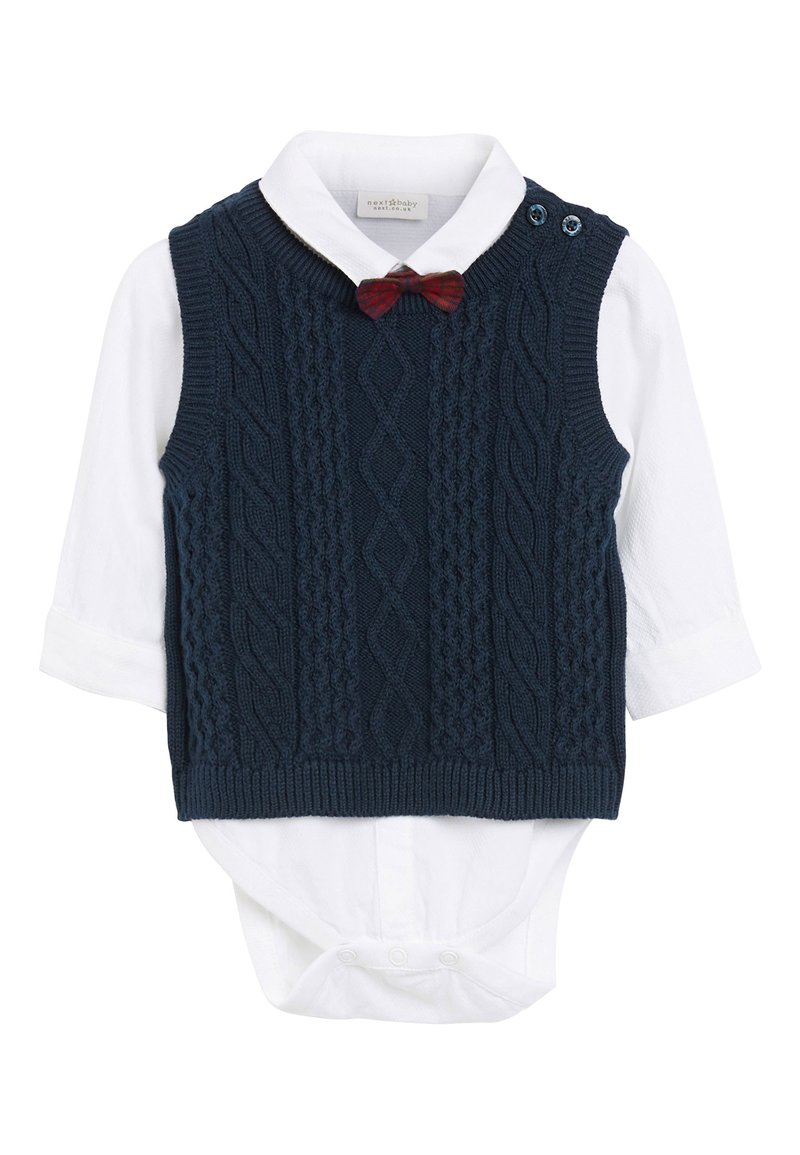 Next - NAVY KNITTED TANK TOP, SHIRTBODY AND BOW TIE SET (0MTHS-2YRS) - Pullover - blue