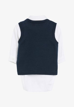 NAVY KNITTED TANK TOP, SHIRTBODY AND BOW TIE SET (0MTHS-2YRS) - Pullover - blue