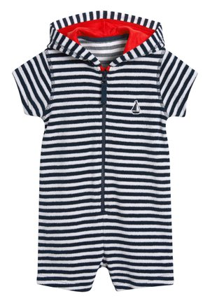 NAVY STRIPE TOWELLING ALL-IN-ONE (3MTHS-7YRS) - Mono - blue