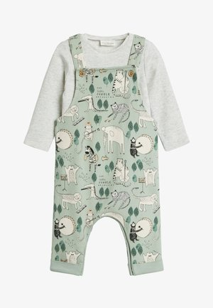GREEN JERSEY CHARACTER DUNGAREES, BODYSUIT AND BIB SET (0MTHS-2Y - Latzhose - green