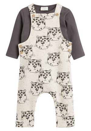 MONOCHROME JUNGLE JERSEY DUNGAREE AND BODYSUIT SET (0MTHS-2YRS) - Body - off-white