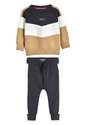 TAN/BLACK COLOURBLOCK CREW AND JOGGERS SET (3MTHS-7YRS) - Trui - beige