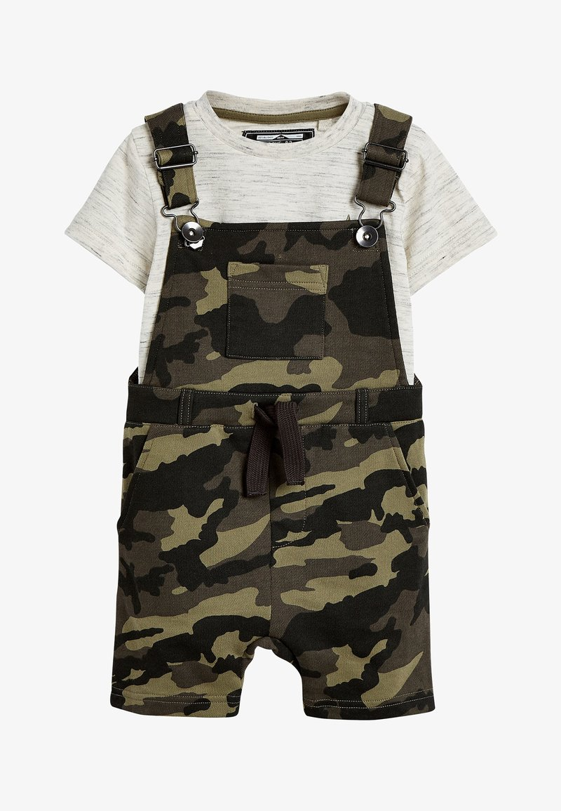 Next - CAMOUFLAGE SHORT DUNGAREES AND T-SHIRT SET (3MTHS-7YRS) - Dungarees - green