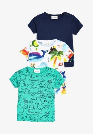 3 PACK - T-shirt z nadrukiem - blue/white/grey