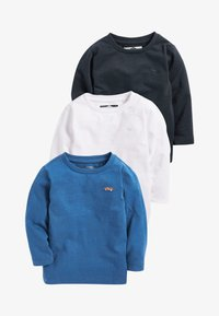Next - BLUE/WHITE 3 PACK LONG SLEEVE PLAIN T-SHIRTS (3MTHS-7YRS) - T-shirt à manches longues - blue/black/white - 0