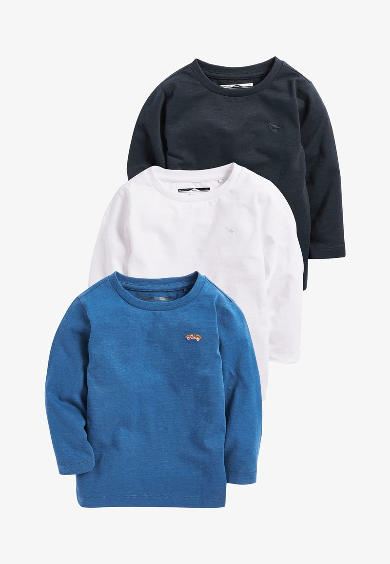 Next - BLUE/WHITE 3 PACK LONG SLEEVE PLAIN T-SHIRTS (3MTHS-7YRS) - T-shirt à manches longues - blue/black/white