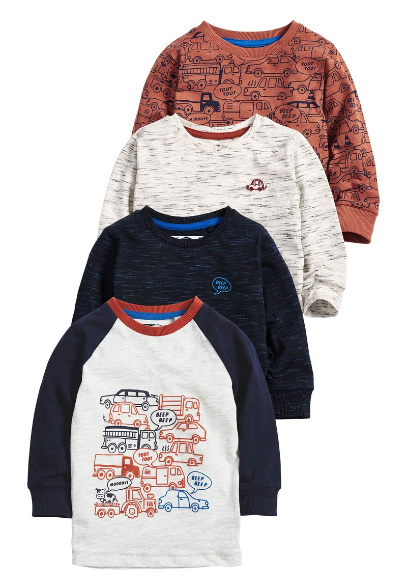 Next - RUST 4 PACK LONG SLEEVE CARS T-SHIRTS (3MTHS-7YRS) - Camiseta estampada - blue