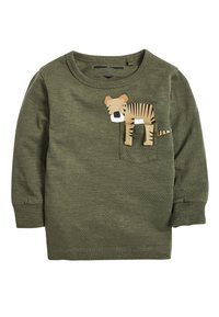 Next - KHAKI/GREY 3 PACK LONG SLEEVE SAFARI T-SHIRTS (3MTHS-7YRS) - Long sleeved top - green - 3