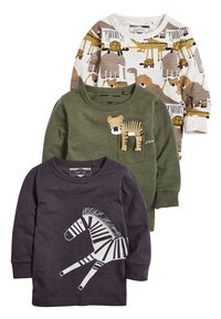 Next - KHAKI/GREY 3 PACK LONG SLEEVE SAFARI T-SHIRTS (3MTHS-7YRS) - Long sleeved top - green - 0