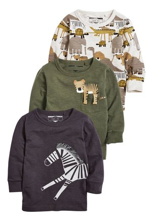 KHAKI/GREY 3 PACK LONG SLEEVE SAFARI T-SHIRTS (3MTHS-7YRS) - Long sleeved top - green