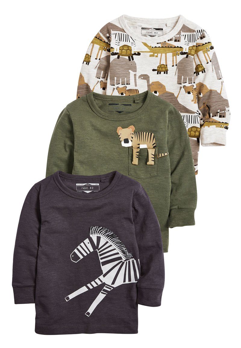 Next - KHAKI/GREY 3 PACK LONG SLEEVE SAFARI T-SHIRTS (3MTHS-7YRS) - Long sleeved top - green