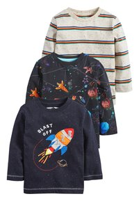 Next - BLUE/NAVY 3 PACK LONG SLEEVE ROCKET T-SHIRTS (3MTHS-7YRS) - Long sleeved top - blue - 0