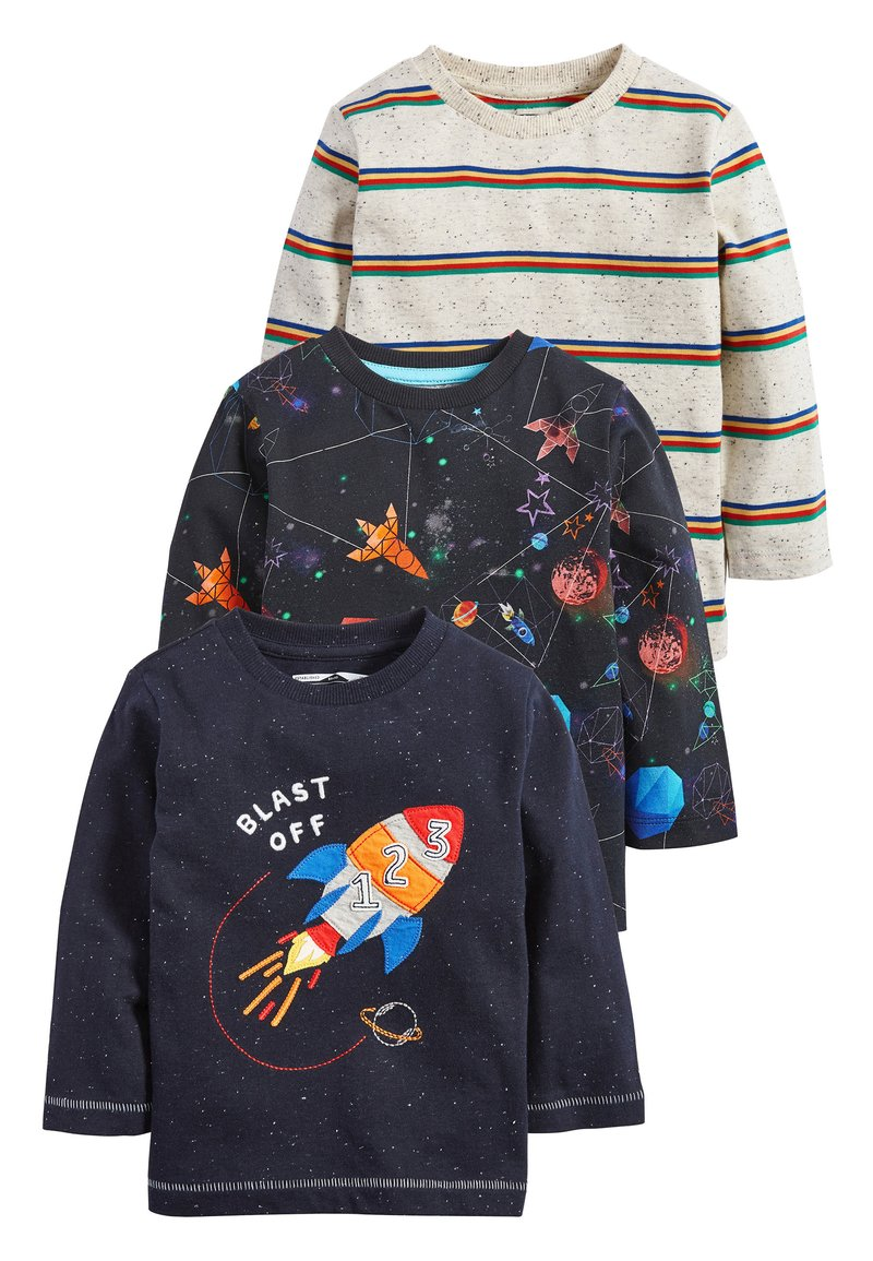 Next - BLUE/NAVY 3 PACK LONG SLEEVE ROCKET T-SHIRTS (3MTHS-7YRS) - Long sleeved top - blue