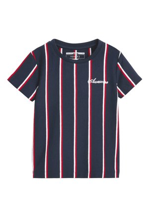 NAVY/RED VERTICAL STRIPE T-SHIRT (3MTHS-7YRS) - T-shirt imprimé - blue