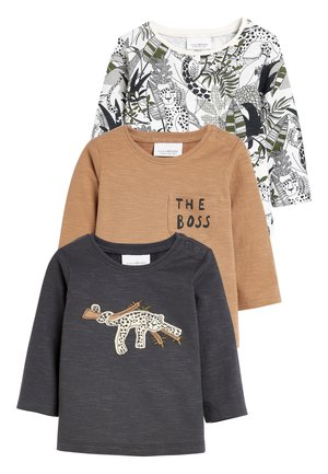 MONOCHROME 3 PACK ANIMAL T-SHIRTS (0MTHS-3YRS) - Long sleeved top - brown