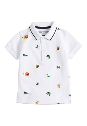 WHITE EMBROIDERED ANIMAL POLO (3MTHS-7YRS) - Poloshirts - white