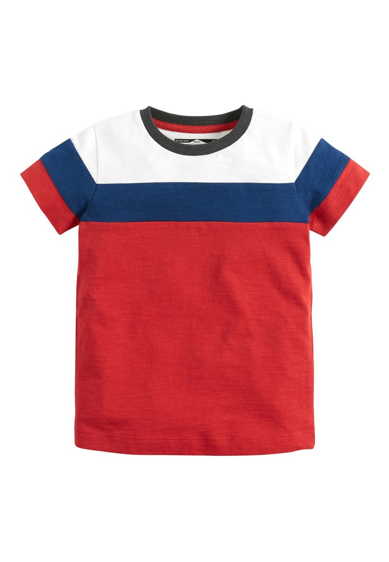 Next - RED/BLUE/WHITE SHORT SLEEVE COLOURBLOCK T-SHIRT (3MTHS-7YRS) - Print T-shirt - red