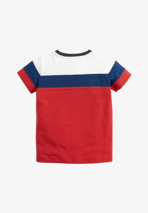 RED/BLUE/WHITE SHORT SLEEVE COLOURBLOCK T-SHIRT (3MTHS-7YRS) - T-shirt z nadrukiem - red