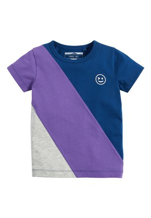 NAVY/PURPLE SHORT SLEEVE COLOURBLOCK T-SHIRT (3MTHS-7YRS) - T-shirt z nadrukiem - blue