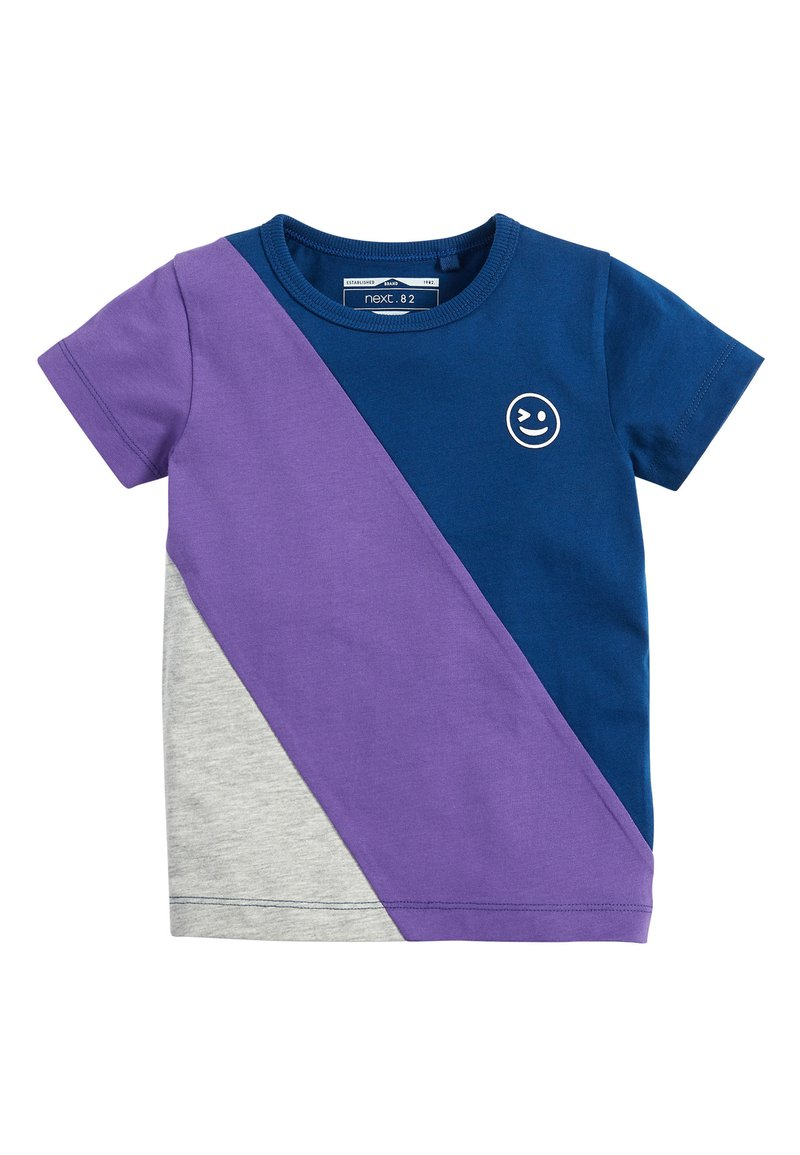 Next - NAVY/PURPLE SHORT SLEEVE COLOURBLOCK T-SHIRT (3MTHS-7YRS) - Camiseta estampada - blue