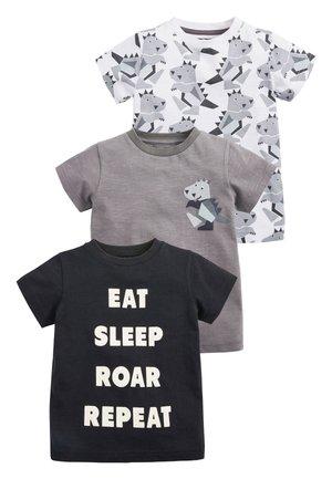 MONOCHROME 3 PACK SHORT SLEEVE DINO T-SHIRTS (3MTHS-7YRS) - T-shirt print - grey