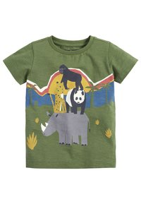 Next - KHAKI SHORT SLEEVE ANIMAL T-SHIRT (3MTHS-7YRS) - Print T-shirt - green - 0