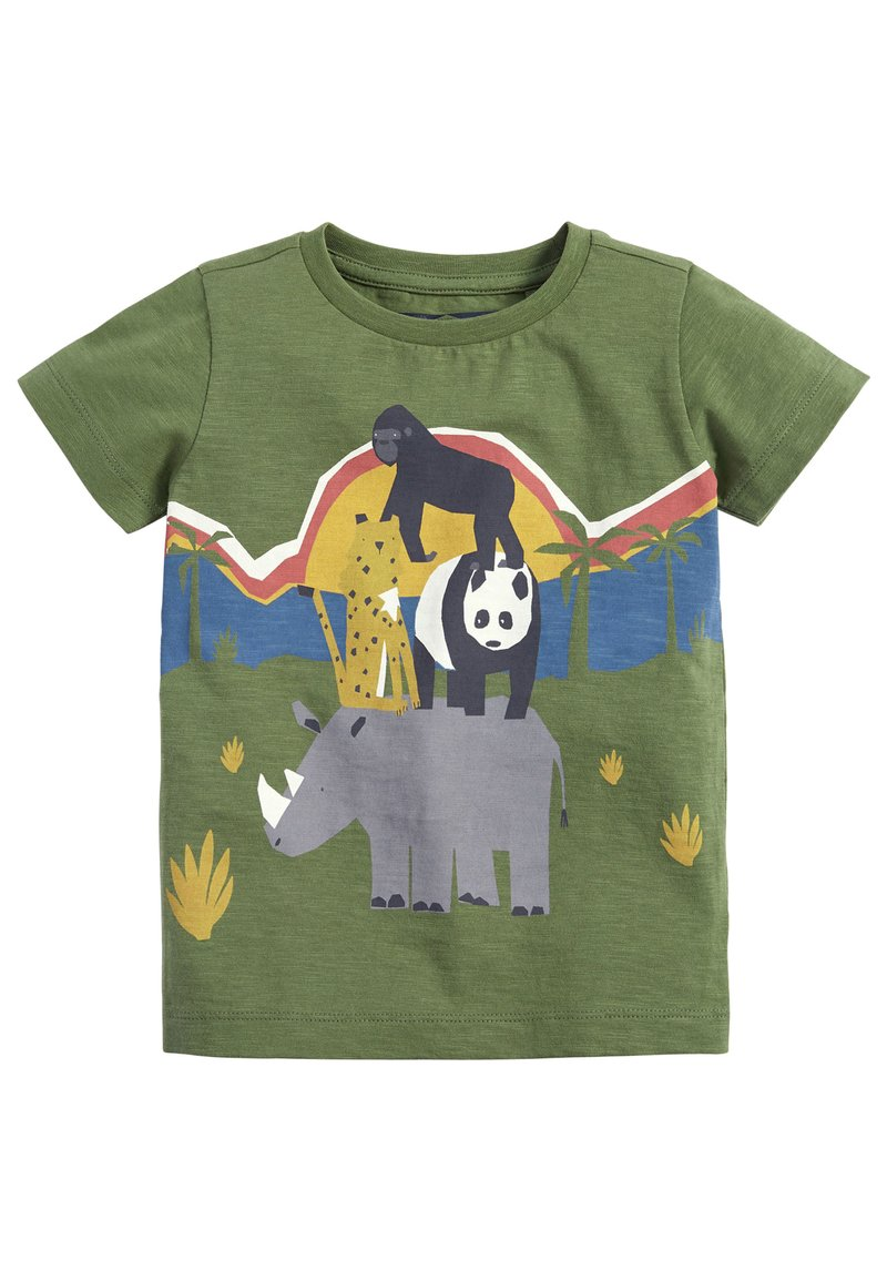 Next - KHAKI SHORT SLEEVE ANIMAL T-SHIRT (3MTHS-7YRS) - Print T-shirt - green