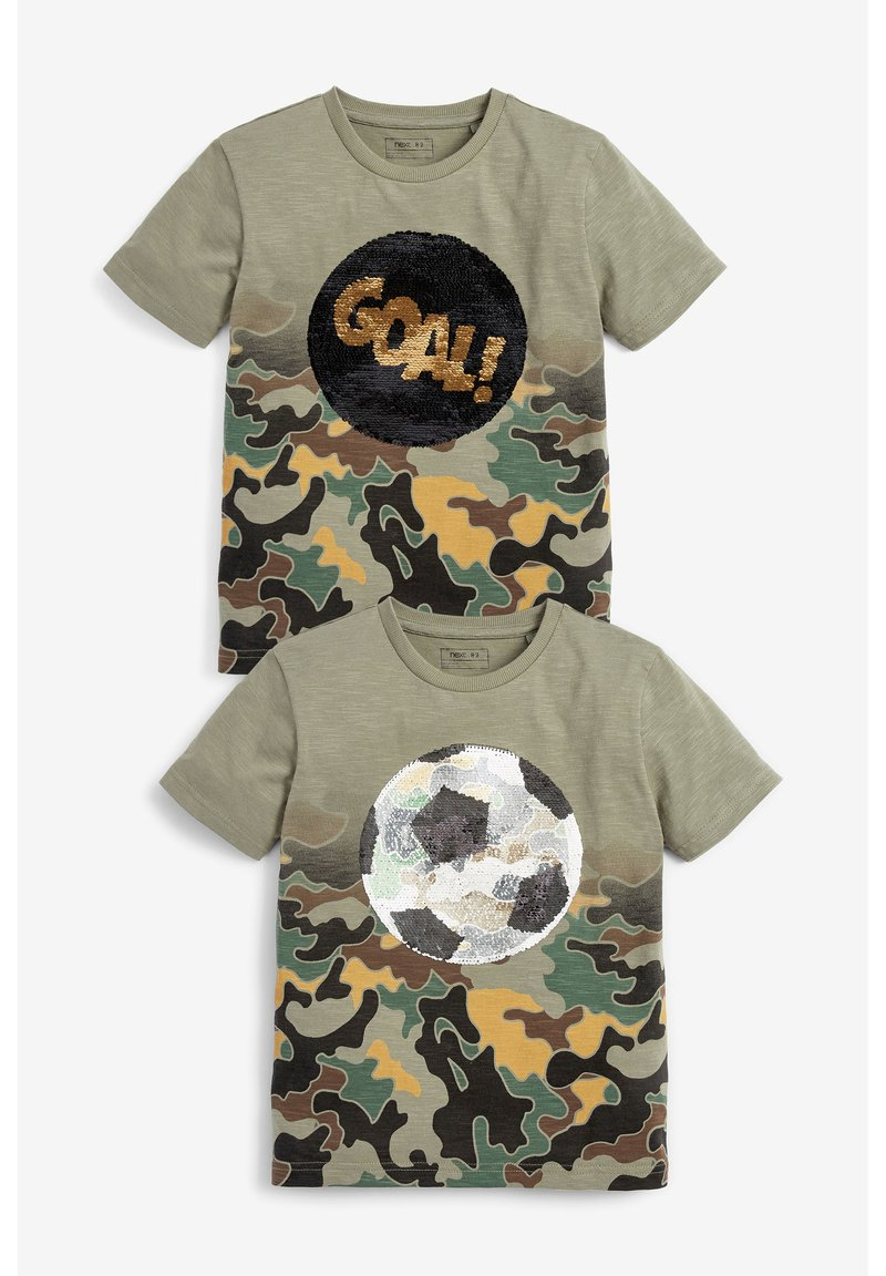 Next - CAMOUFLAGE FOOTBALL SEQUIN CHANGE T-SHIRT (3-16YRS) - T-shirt print - green